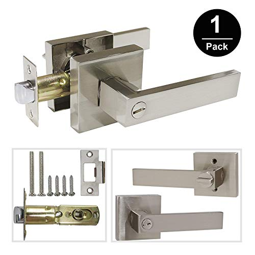 Gobrico Square Rosette Bedroom/Bathroom Lock Straight Lever Handle Privacy Door Locket with Thumb-Turn Button,Satin Nickel Finished 1Pack Big One Satin Button