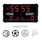 Pokerty LED Digitale Anzeigetafel, 17.7 * 10.0 Inch Elektronische LED Anzeigetafel Basketball Fußball Spielstoppuhr mit Fernbedienung Hängen Sie es an eine Wand oder Decke