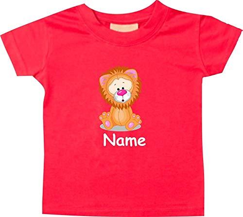 Shirtinstyle Bébé Haut, Lion Animal Motifs Nom Souhaité - Rouge, 18-24 Monate