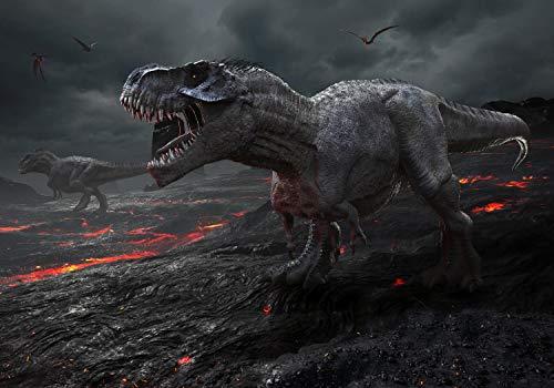 wandmotiv24 Fototapete T-Rex Dino in Lavalandschaft S 200 x 140cm - 4 Teile Fototapeten, Wandbild, Motivtapeten, Vlies-Tapeten Dinosaurier Natur M6016