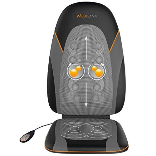 Medisana MC 830 Shiatsu-Massageauflage, Massagesitzauflage mit Gel-Köpfen, Gelmassage für den gesamten Rücken, 3 Intensitätsstufen, Wärmefunktion, mit Fernbedienung