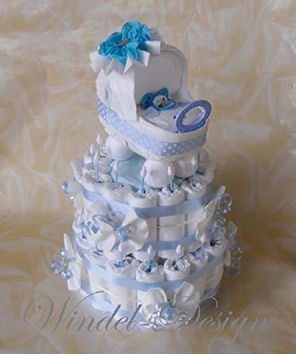 Windeltorte Windelwagen blau - Junge Geschenk, Babyparty, Geburt oder Taufe, auf Wunsch mit Grußkärtchen