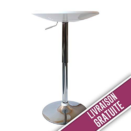 Tavolo da bar regolabile in altezza, colore: bianco e cromato