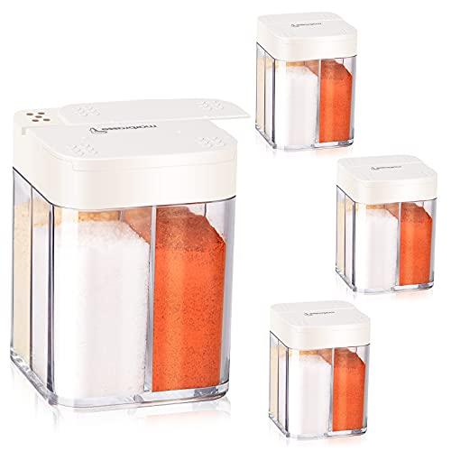 Ulikey Tarro de Especias 4 en 1, 4 Piezas Botes de Especias con Tapa Deslizante, Transparente Frascos de Especias, Caja de Condimentos, Saleros y Pimenteros Portátil para Cocina, Camping, Barbacoa