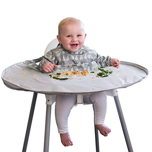 Coverall Food Catcher bib with Sleeves attaches to highchair Tray - Tidy Tot Bib & Tray Kit. Baby Weaning Bib ideal for Baby led weaning and messy play (Dove Grey)