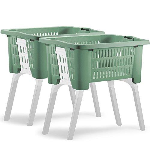 2er Set Wäschekorb mit ausklappbaren Beinen aus Kunststoff Wäschesammler Tragegriffe arbeitserleichternd 38 Liter 60x40x58cm grün