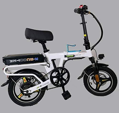 YPLDM Bicicleta eléctrica Plegable Mini Coche eléctrico Mini Scooter eléctrico,Blanco