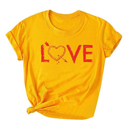 Morran Camiseta con Impresión Gráfico De Flecha De Amor para Mujer Y Adolescente,con Una Flecha a Través del Patrón del Corazón