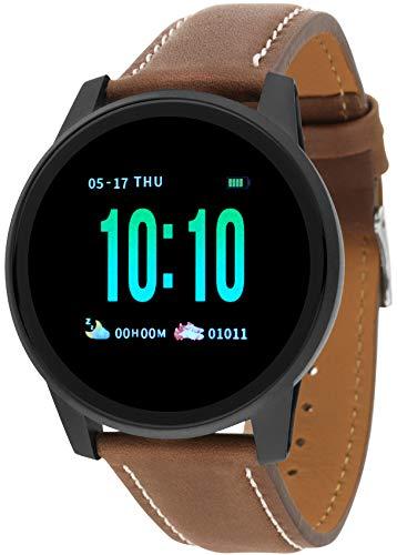 Reloj Nowley Smartwatch 21-2026-0-2 Piel Marrón. Caja de Acero Negra. Correa de Piel marrón. Monitor de pulsaciones. Presión Arterial.