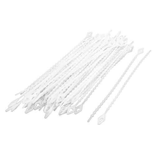 Sourcingmap Home Office en Plastique Câble Autobloquant Fil Zip Cravates Fixer Bander Blanc 50 pièces