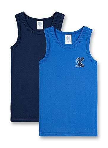 Sanetta Jungen Doppelpack Unterhemd, Blau (River Blue 50047), (Herstellergröße: 104)