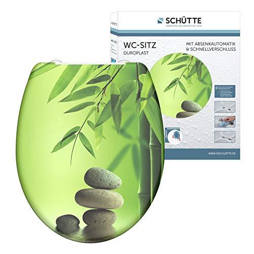 SCHÜTTE Asiento de inodoro Duroplast Green Garden con dispositivo automático de descenso y cierre rápido para una fácil limpieza, carga máxima del asiento del inodoro 150 kg, diseño de piedras 82365
