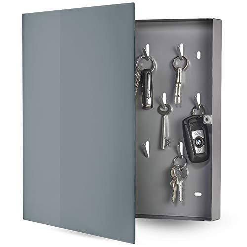 bonsport Schlüsselkasten mit Glas Magnettafel - Memoboard inkl. 6 Magnete, 32 x 32 x 4 cm - anthrazit