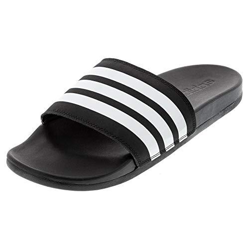 adidas Women's Adilette Comfort Slide Sandal, Black/White/Black, 8