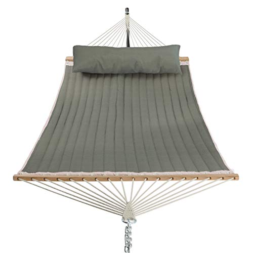 Patio Watcher 11 Feet Quilted Fabric Hammock with Pillow Double 2 Person Hammock with Bamboo Spreader Bars, Perfect for Outdoor Patio Yard Beach Dark Green