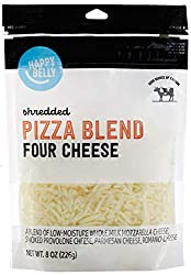 Amazon Brand - Happy Belly Shredded Pizza Blend (Four Cheese), 8 Ounce