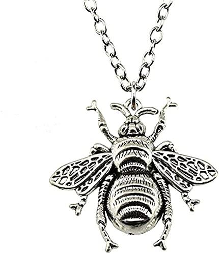YOUZYHG co.,ltd Halskette 1PC Bee Antique Bronze Antik Silber Farbe 40x38mm Anhänger Halskette Schmuck Halskette für Frauen Dropshipping