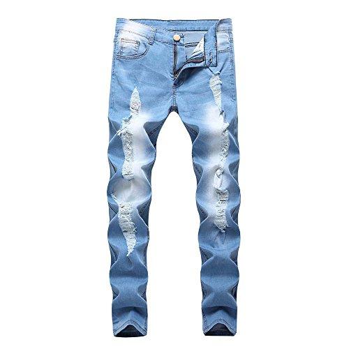 KEERADS Pantalons en Denim Jeans Homme Fermeture éclair Slim Biker Pantalon Skinny effiloché déchiré Mode Fashion Populaire Jeans en Lambeaux(32(FR42),Bleu Clair)