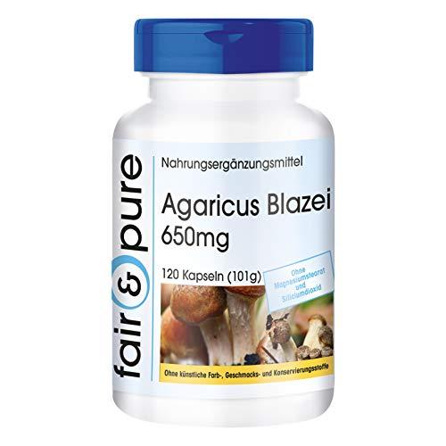 Agaricus Blazei 650mg (ABM - Agaricus Blazei Murill) - Vitalpilz - vegan - natürlich - ohne Magnesiumstearat - 120 Kapseln