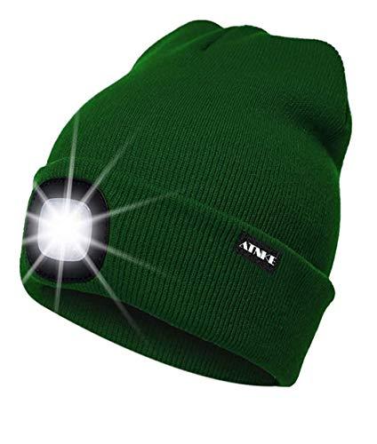 ATNKE LED beleuchtete Mütze, wiederaufladbare USB-Laufmütze mit extrem Heller 4-LED-Lampe und Blinkender Alarmscheinwerfer/Grün