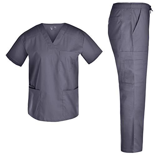 Fashion Men Stretch Scrubs Set - Nursing Medical Scrubs for Men Spandex Uniforms V Neck Top and Cargo Pants Doctor JY7303 Pewter M