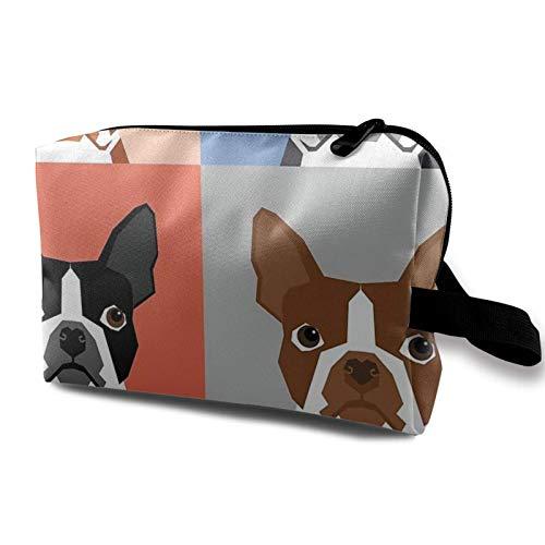 XCNGG Bolsa de almacenamiento de maquillaje de viaje, bolso de aseo portátil, pequeña bolsa organizadora de cosméticos para mujeres y hombres, perros, cachorros, Boston