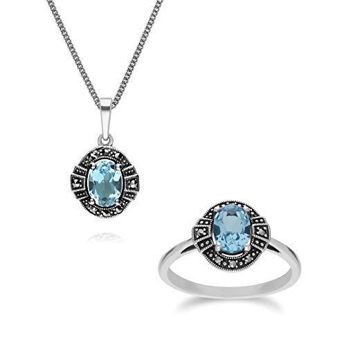 Gemondo in argento Sterling con topazio blu ovale e marcasite a grappolo & 45cm collana set