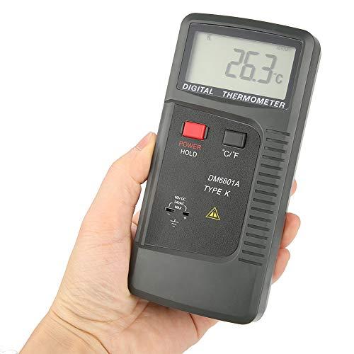 Termometro digitale, DM6801A Termocoppia tipo K Termometro digitale Tipo di contatto Termometro a doppio canale