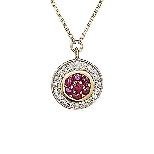 Halsketting geelgoud diamanten 0,07 karaat en robijn 0,14 karaat