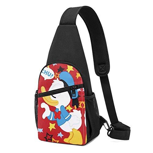 Liuyan - Bolso bandolera con diseño de pato Donald con estrella, mochila de viaje, senderismo, bolsa de día para mujeres y hombres