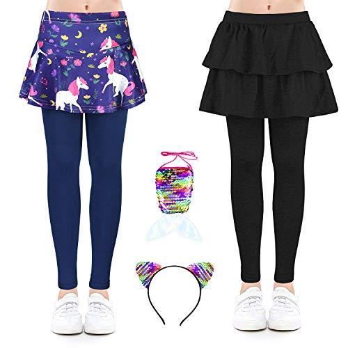 OioTuyi Leggings para niñas Falda Falda con Estampado elástico para niños de 4 a 10 años