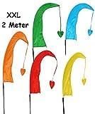 alles-meine.de GmbH 5 TLG Set: XXL - 2,2 m - Windfahnen / Balifahnen - Bunte Farben - mit Fahnenstange - Windrichtungsanzeige - aus Nylon / Flagge Windrichtungsanzeiger - für Auß..