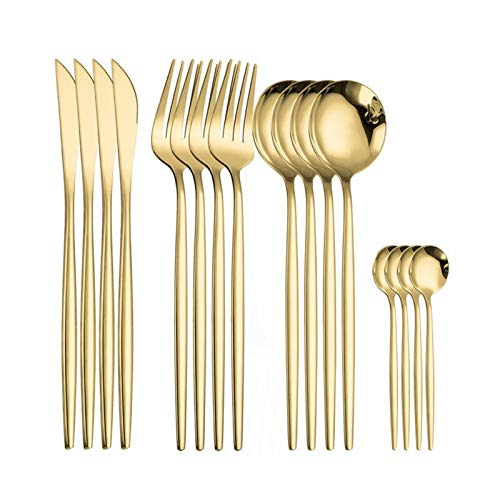 Oneriverspring40 Negro Vajilla Forks Cuchillos Cuchillas Cubiertos Cubiertos Conjunto de Cubiertos de Acero Inoxidable Conjunto de Cubiertos Cocina Cubiertos Set 16pcs Luxury Takeware (Color : Gold)