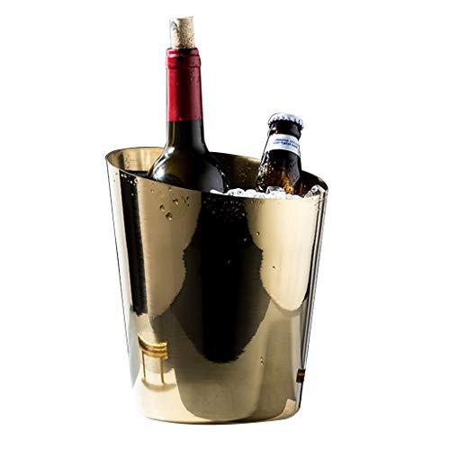 Portaghiaccio Secchiello per Il Ghiaccio Botte di Vino in Acciaio Inossidabile Botte di Birra D'uva Secchiello per Champagne Botte di Vino di Ghiaccio per Bar KTV BBQ Feste Club (Color : Gold)