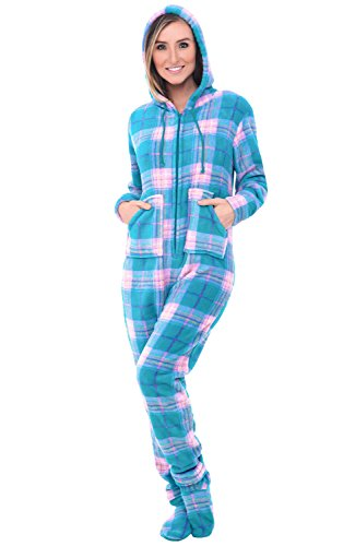 Alexander Del Rossa Women's Warm Fleece One Piece Footed Pajamas, Adult Onesie with Hood, XS Teal and Pink Plaid (A0322P96XS)