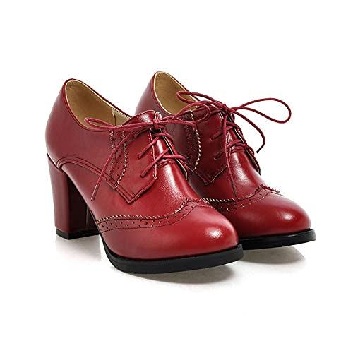 Erocalli Oxfords Brogue for Women Lace Up Chunky High Heels PU Leather Dress Shoes Red