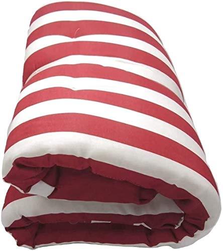 Dabuty Online, S.L. Pack de 2 Cojines de Tumbona Acolchada de Rayas 180 x 55 X 5 cm Colchón Texturas. Colchoneta Tumbona (Rojo)
