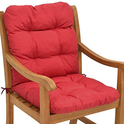 Beautissu Cuscino per sedie da Giardino Flair NL100x50x8cm - Comoda e soffice Imbottitura - Morbido Cuscino per Interni ed Esterni - Ideale Anche per spiaggine - Rosso