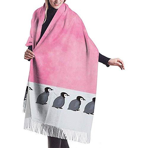 Crayo Schals Wraps,Unisex Kaschmirtuch Schal,Pashmina Schal Tuch Stola,Schals Für Damen,Pinguin Anhänger Pink Moon Night Weichen Schal Decke,Schals Wraps,Frauen Männer Warme Pashmina