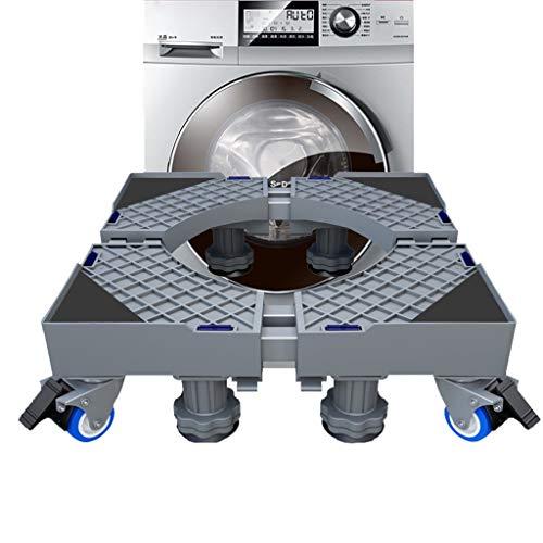 Socle Machine a Laver Réglable 48cm - 68cm, Anti Vibration Antidérapant, Deplace Meuble, Universel Pieds Stabilisateur Piédestal, Support Seche Linge