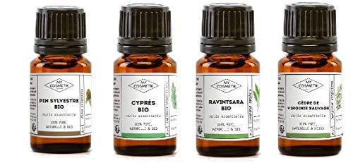 Pack de difusión 4 aceites esenciales'Espíritu de Navidad N°2': bosque de abetos y sotobosque - MyCosmetik - 4 x 5 ml