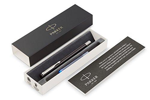 Parker Vector Füller | Schwarz | Füllfederhalter Mittlere Spitze | Blaue Tinte | Geschenkbox