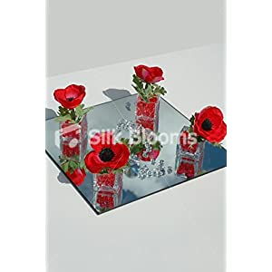 4 Cubic Vase Guest Centrepiece in Luxury Red Anemone Poppies