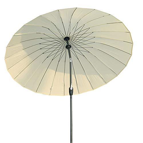 Angel Living 250cm Parasol de Acero de Jardín con Manivela, Sombrilla Inclinada Muy Estado con Mástil de Diamentro de 38mm, para Jardín Patío Terraza (Beige Claro)