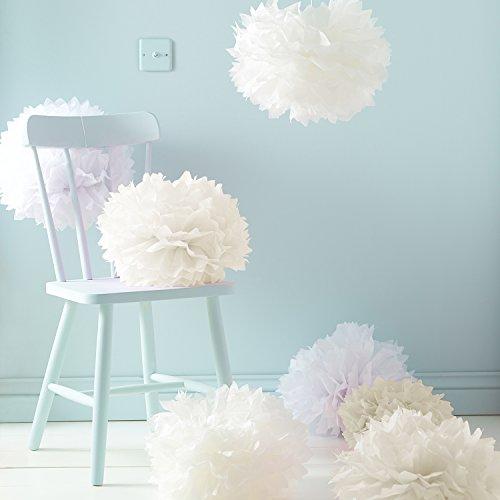 Lights4fun Set mit 9Seidenpapier-Pompons, als Dekoration für Hochzeiten oder Partys weiß crème