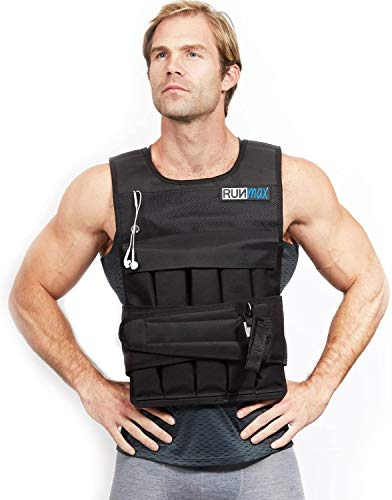RUNFast RUNmax 12Lbs-140Lbs Weighted Vest with Shoulder Pads, 60 lb, Black