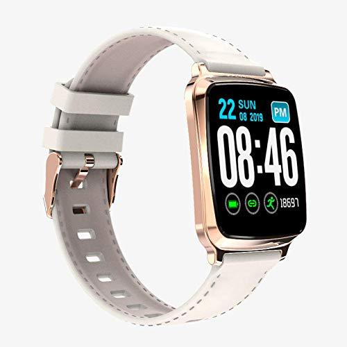 Reloj Inteligente Mujer Hombre,Reloj Inteligente Deportivo a Prueba de Agua, frecuencia cardíaca, presión Arterial y monitoreo del sueño: Oro,Pulsera de Actividad Inteligente Reloj Deportivo