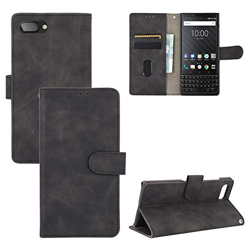 DAMONDY Case for BlackBerry Key2,Leather Wallet Shockproof Flip Folio Phone Cover Card Slots Kickstand Magnetic Closure for BlackBerry Key2 -Black