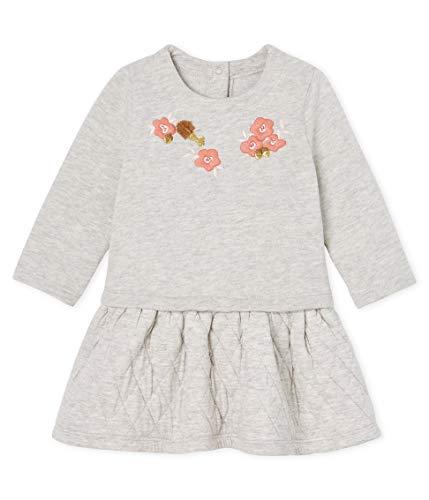 Petit Bateau Baby-Mädchen Robe ML_5220901 Kleid, Grau (Beluga Chine 01), 80 (Herstellergröße: 12M/74cm)