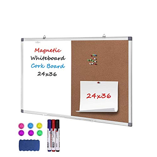 White Board & Bulletin Cork Board Combination 36 x 24 inch Bulletin Combo Board with 3 Markers, 6 Magnets, 12 Push Pins, 1 Eraser Hanging Wall Mounted Memo Board for Home, School, Office